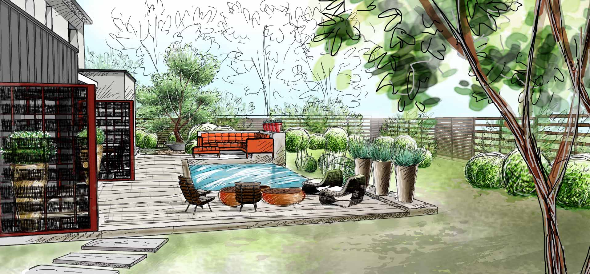 Ferry axelle for Croquis jardin paysager
